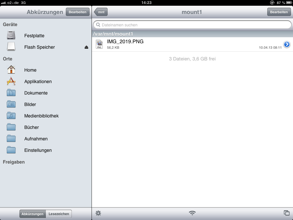 USB-Stick in iFile am iPad