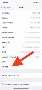 Anzeige der Firmwareversion der Apple Airpods auf dem iPhone