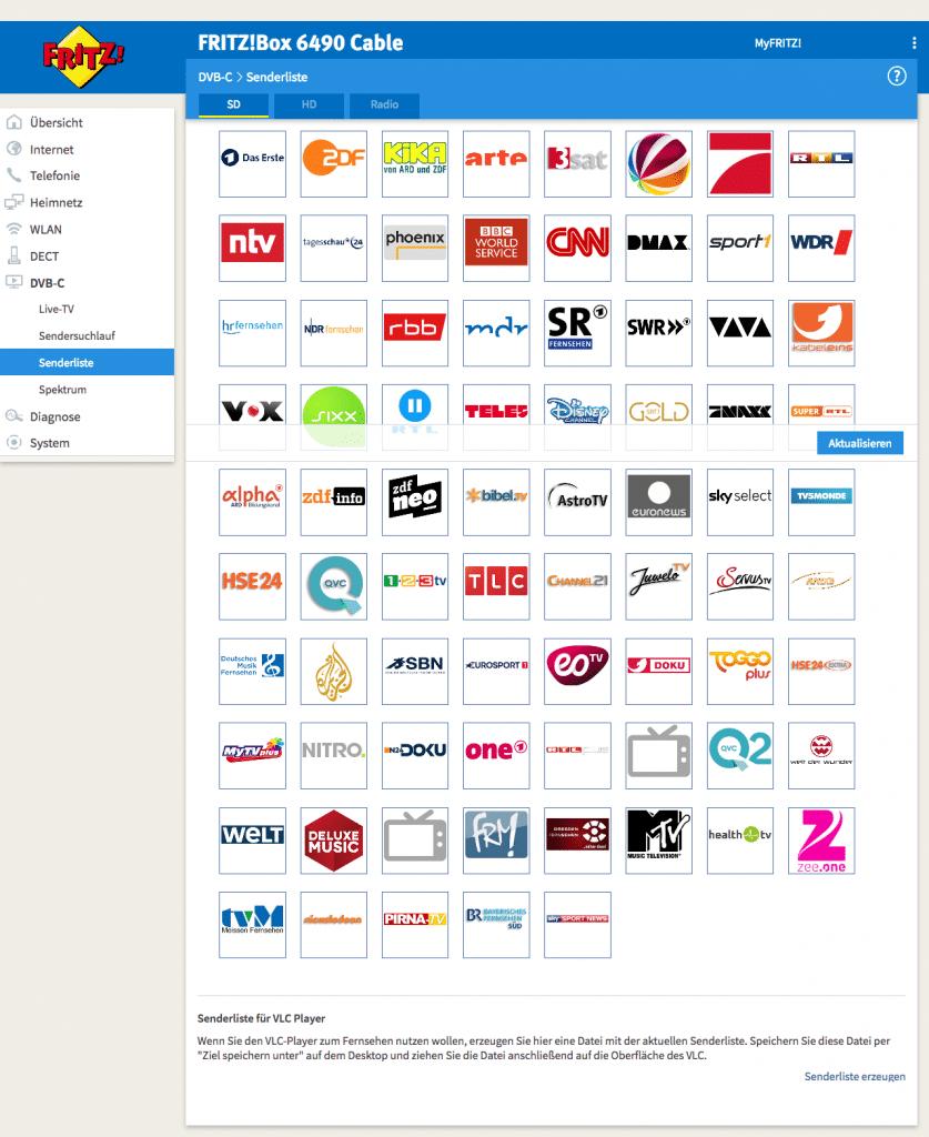 FRITZ!Box 6490 mit DVB-C freigeschaltet